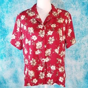 VTG Laura Scott Hawaiian Red Floral Button Up Top